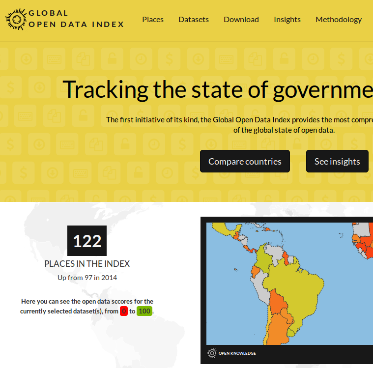 Captura de tela do Global Open Data Index 2015